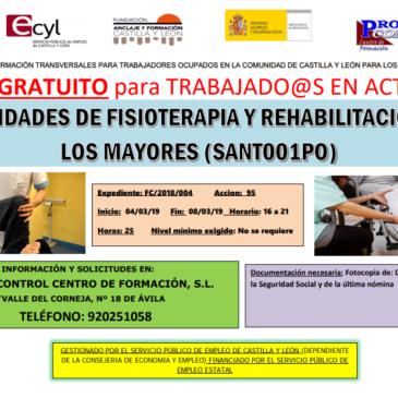 Curso trabajadores: actividades de fisioterapia y rehabilitación en los mayores
