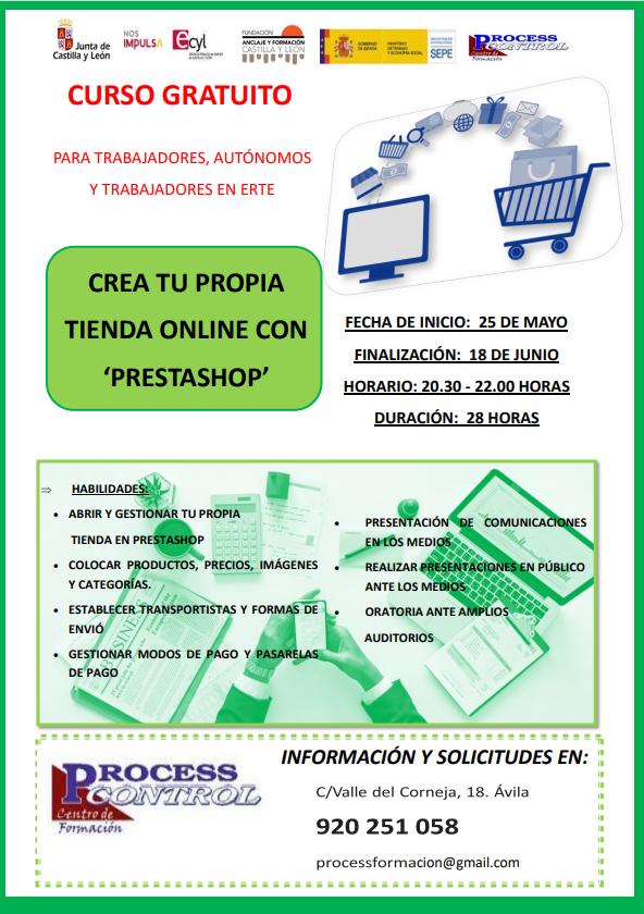 Cartel curso 'Crea tu propia tienda online con prestashop